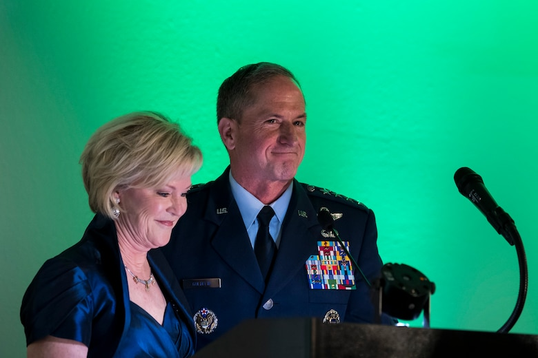Air Force Chief of Staff Gen. David L. Goldfein and Dawn Goldfein Mrs. Goldfein thank past and present members of the rescue community for their bravery during the banquet celebrating the 50th reunion of the Jolly Green Association (JGA), May 4, 2019, in Fort Walton Beach, Fla. The JGA presented Airmen from the 41st Rescue Squadron (RQS) and the 48th RQS with the Rescue Mission of the Year award; the only non Air Force award recognized by the Air Force. (U.S. Air Force Photo by Staff Sgt. Janiqua P. Robinson)