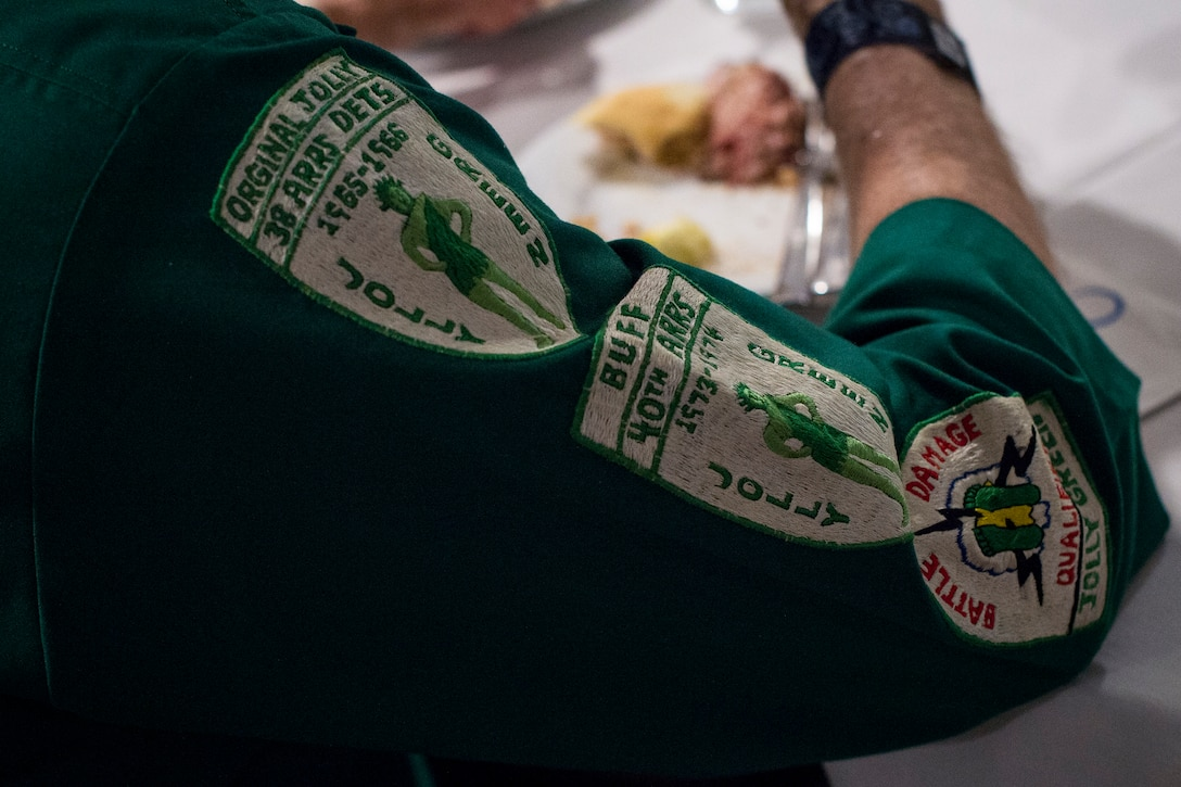 A member of the Jolly Green Association (JGA) restes during an event celebrating the 50th reunion of the JGA, May 3, 2019, in Fort Walton Beach, Fla. The JGA presented Airmen from the 41st Rescue Squadron (RQS) and the 48th RQS with the Rescue Mission of the Year award; the only non Air Force rescue award recognized by the Air Force. (U.S. Air Force Photo by Staff Sgt. Janiqua P. Robinson)