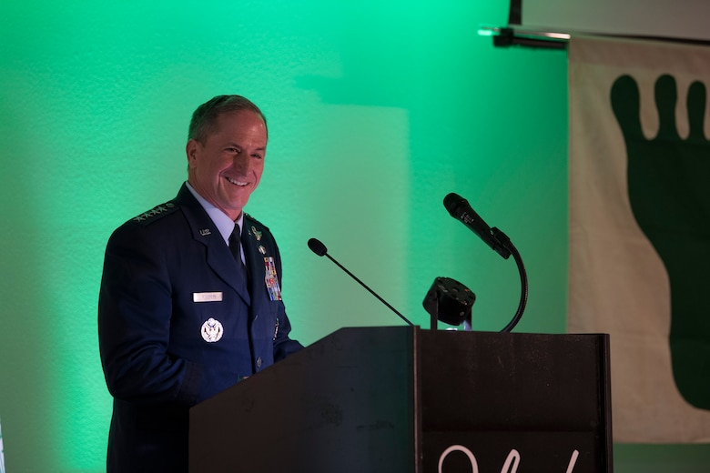 Air Force Chief of Staff Gen. David L. Goldfein speaks during the banquet celebrating the 50th reunion of the Jolly Green Association (JGA), May 4, 2019, in Fort Walton Beach, Fla. The JGA presented Airmen from the 41st Rescue Squadron (RQS) and the 48th RQS with the Rescue Mission of the Year award; the only non Air Force  rescue award recognized by the Air Force. Goldfein spoke about his own recovery after his F-16 Flying Falcon was shot down over Serbia on May 2, 1999. (U.S. Air Force Photo by Staff Sgt. Janiqua P. Robinson)