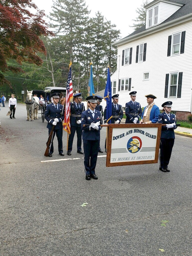 Dover Air Force Base Honor Guard members and 436th Airlift Wing Commander Col. Joel Safranek prepare for the Dover Days Parade May 4, 2019, at downtown Dover, Del. Dover Days is a tradition that celebrates Dover's history. This year's celebration included a parade through downtown Dover as well as the 75th anniversary commemoration of D-Day in World War II at the AMC Museum and three NASCAR races. (courtesy photo)