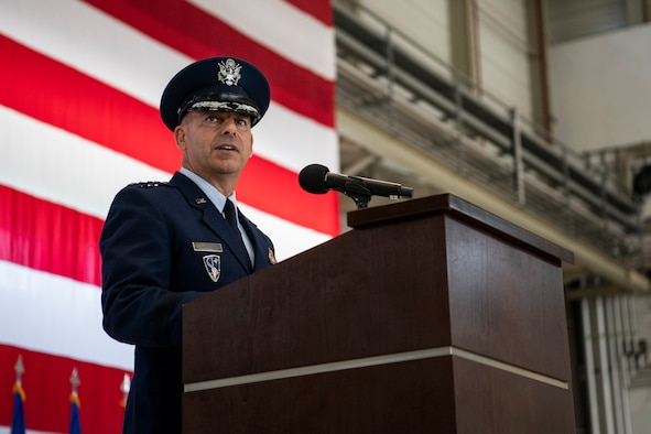 Gen. Jeff L. Harrigian, U.S. Air Forces in Europe Air Forces Africa commander, delivers his first address as commander during a change of command ceremony held at Ramstein Air Base, Germany, May 1, 2019. As the new commander of USAFE-AFAFRICA, Harrigian is responsible for the full-spectrum of Air Force war-fighting capabilities for two combatant commands. (DoD photo by Mass Communication Specialist 2nd Class Eric Coffer)