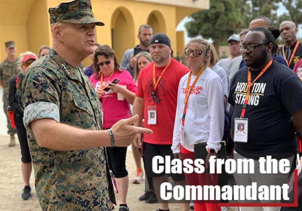 U.S. Marine Gen. Robert B. Neller, the Commandant of the Marine Corps, welcomes Texas educators to the Educators Workshop on Marine Corps Recruit Depot San Diego, California, on May 7, 2019.