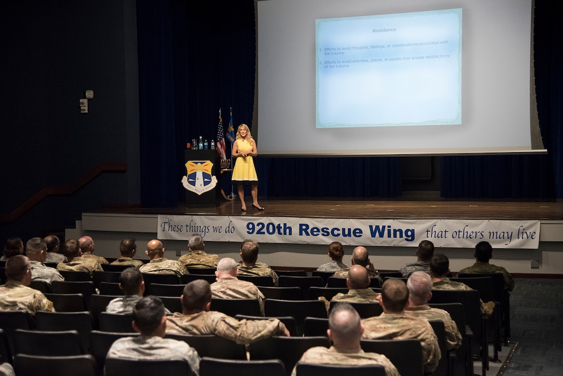 Dr. Carrie Elk, of the Elk Institute for Psychological Health Performance, gave a presentation to wing leaders about post-traumatic stress, Saturday, April 6 at the Base Theater. The Elk Institute for Psychological Health & Performance is a non profit 501(c)3 that was established to provide