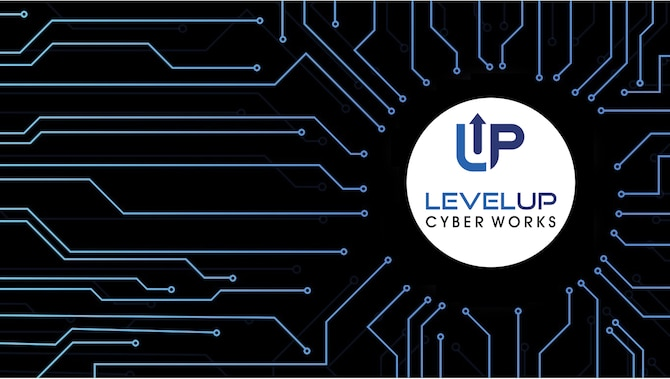 "LevelUP Cyber Works is a ""cyber factory"" that will develop and field new capabilities. Unified Platform is a cyberspace operations system for those future cyber mission force capabilities. (U.S. Air Force Graphic by Benjamin Newell)"