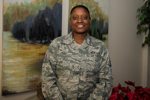 Master Sgt. Kellie Ford, 60th Air Mobility Wing, Office of the Staff Judge Advocate superintendent, shares some insight from her career in the legal career field. (U.S. Air Force photo by Tech. Sgt. James Hodgman)