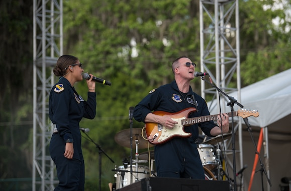 Max Impact performs for country music fans as part of the Armed Forces Tribute at the 2019 Suwannee River Jam. This event took place at the Spirit of the Suwannee Music Park on Saturday, May 4, 2019. (U.S. Air Force Photo by Chief Master Sgt. Kevin Burns)