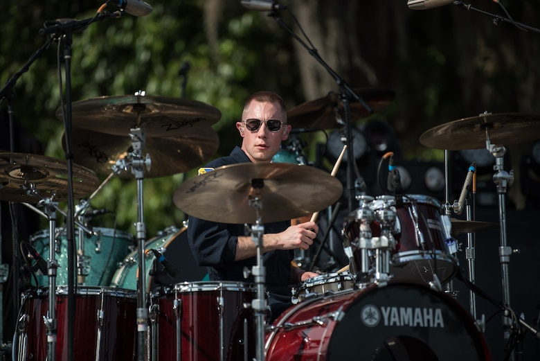Technical Sgt. Gabriel Staznik, drummer with Max Impact, performs at the Armed Forces Tribute for the 2019 Suwannee River Jam. This event took place at the Spirit of the Suwannee Music Park on Saturday, May 4, 2019. (U.S. Air Force Photo by Chief Master Sgt. Kevin Burns)
