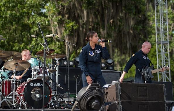 Lead vocalist for Max Impact, Technical Sgt. Nalani Quintello, performs at the Armed Forces Tribute during the 2019 Suwannee River Jam. This event took place at the Spirit of the Suwannee Music Park on Saturday, May 4, 2019.