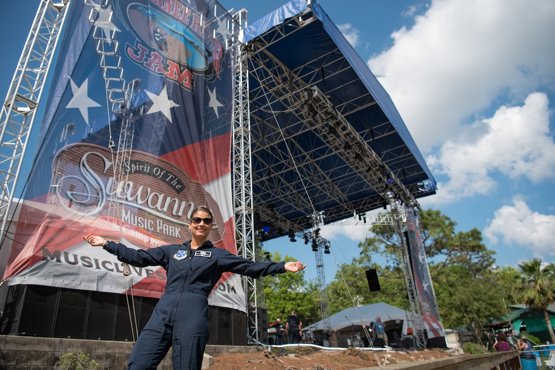 Lead vocalist of Max Impact, Technical Sgt. Nalani Quintello, poses in front of the stage before performing for the Armed Forces Tribute at the 2019 Suwannee River Jam, which took place at the Spirit of the Suwannee Music Park on Saturday, May 4, 2019.