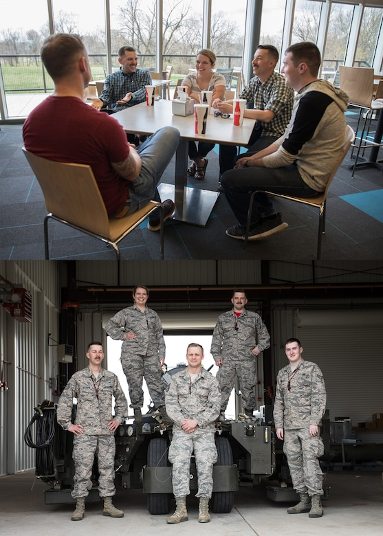 Two photos depicting Airmen from the 131st Bomb Wing both on and off the job.
