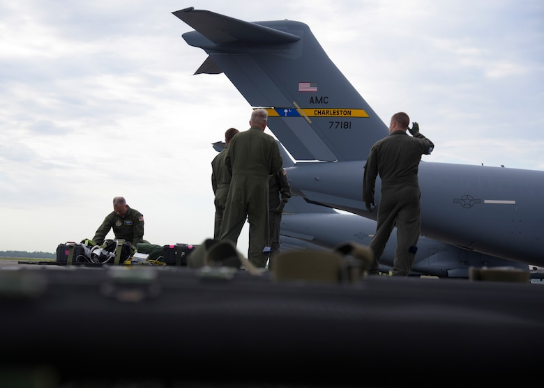 U.S. Air Force 315th Aeromedical Evacuation Squadron team at Joint Base Charleston, South Carolina, prepares medical equipment  to load a C-17 Globemaster III for a National Disaster Management System exercise May 7, 2019, at JB Charleston. These NDMS training flights help the 315AES prepare for real life scenerios to ensure Airmen stay well practiced.