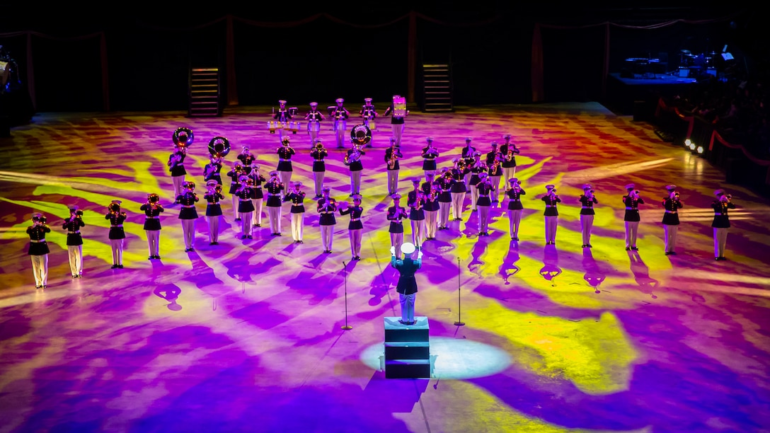 U.S. Marines with the Marine Corps Band perform during the Virginia International Tattoo at Scope Arena, Norfolk, VA., April 25, 2019. The Tattoo showcases over 1,000 performers from several different nations, celebrating military and musical heritage from all over the world.