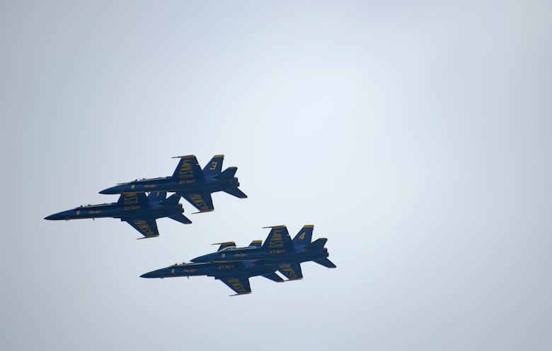 Four Blue Angels in the sky