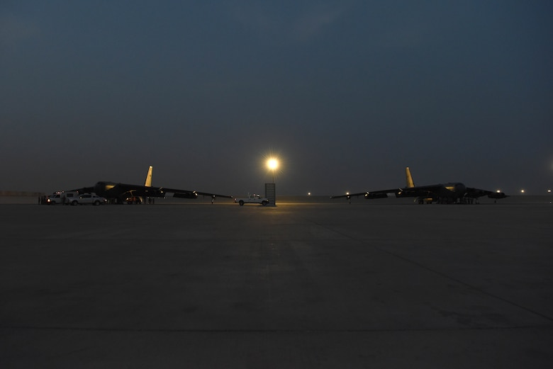 A photo of two B-52 bombers
