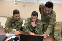 Virginia National Guard Soldiers assigned to the Fairfax-based 123rd Cyber Protection Battalion, 91st Cyber Brigade, provide digital forensics support to identify indicators of compromise and the source of intrusion to help protect a customer network in a virtualized training environment April 16, 2019, at Camp Atterbury, Indiana, during Cyber Shield 19.
