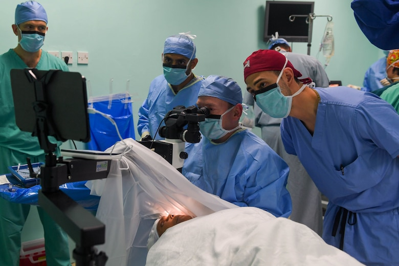 U.S. service members observe a cataract surgery during New Horizons exercise 2019 at Port Mourant, Guyana, May 6, 2019.