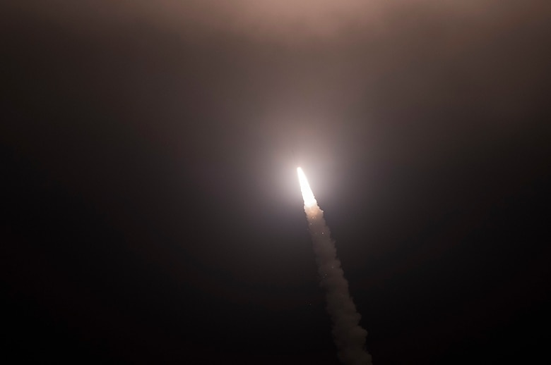 An unarmed Minuteman III intercontinental ballistic missile launches during an operational test at 12:40 Pacific Daylight Time Thursday May 9, 2019, at Vandenberg Air Force Base, Calif. (U.S. Air Force photo by Airman 1st Class Hanah Abercrombie)