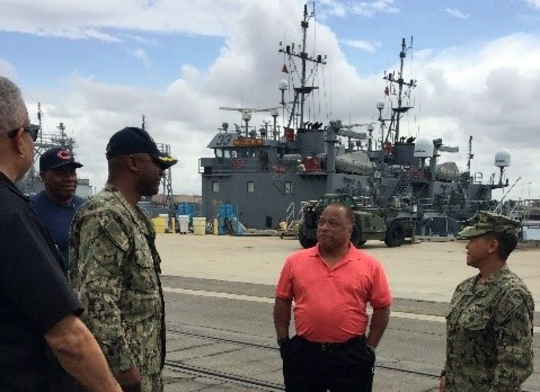 Navy Region Southwest Commander Rear Adm. Bolivar visits  DLA Distribution San Diego, California at Port Hueneme