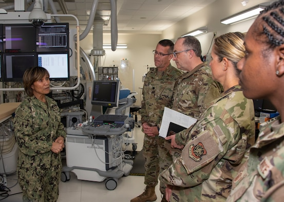 U.S. Navy Vice Adm. Raquel C. Bono, left, Defense Health Agency, Defense Health Headquarters director, tours the heart, lung vascular center at David Grant USAF Medical Center, April 23, 2019, at Travis Air Force Base, California. Bono's visit focused on the rollout of the Military Health System Genesis, the Department of Defense's new electronic health record which the 60th Medical Group will use exclusively beginning in September 2019.  (U.S. Air Force photo by Heide Couch)