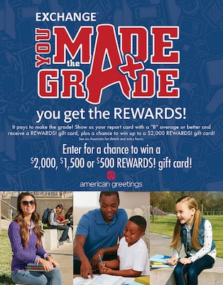Through the Exchange's You Made the Grade program, first- through 12th-graders with a B average or higher are eligible to receive a $5 Exchange gift card every grading period of the 2018-19 school year. Military students can also enter a worldwide sweepstakes for a chance to win a $2,000, $1,500 or $500 Exchange gift card.