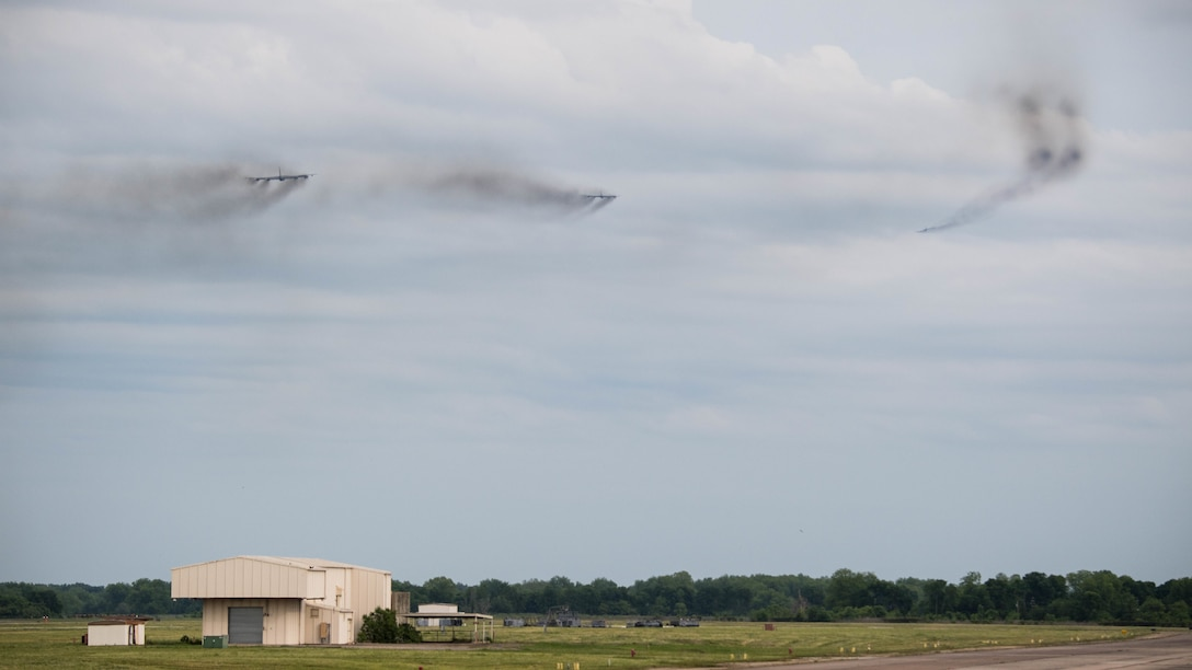 U.S. B-52H Stratofortresses take off as part of a Bomber Task Force deployment from Barksdale Air Force Base, La., May 7, 2019. The Bomber Task Force is deploying to the U.S. Central Command area of responsibility to defend American forces and interests in the region. (U.S. Air Force photo by Airman Jacob B. Wrightsman)