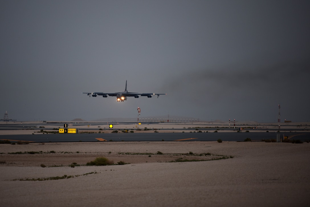 A U.S. B-52H Stratofortress aircraft assigned to the 20th Expeditionary Bomb Squadron comes in for a landing May 8, 2019. The B-52H can perform strategic attack, close-air support, air interdiction, offensive counter-air and maritime operations, to support stability in the region through a dynamic defense posture. The Bomber Task Force is deployed to U.S. Central Command area of responsibility to defend American forces and interests in the region. (U.S. Air Force photo by Staff Sgt. Ashley Gardner)