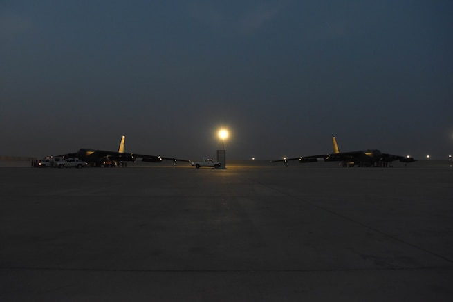 U.S. B-52H Stratofortress aircraft assigned to the 20th Expeditionary Bomb Squadron are parked on a flight line May 8, 2019. The B-52H can perform strategic attack, close-air support, air interdiction, offensive counter-air and maritime operations to support stability in the region. The Bomber Task Force is deployed to U.S. Central Command area of responsibility to defend American forces and interests in the region. (U.S. Air Force photo by Staff Sgt. Ashley Gardner)