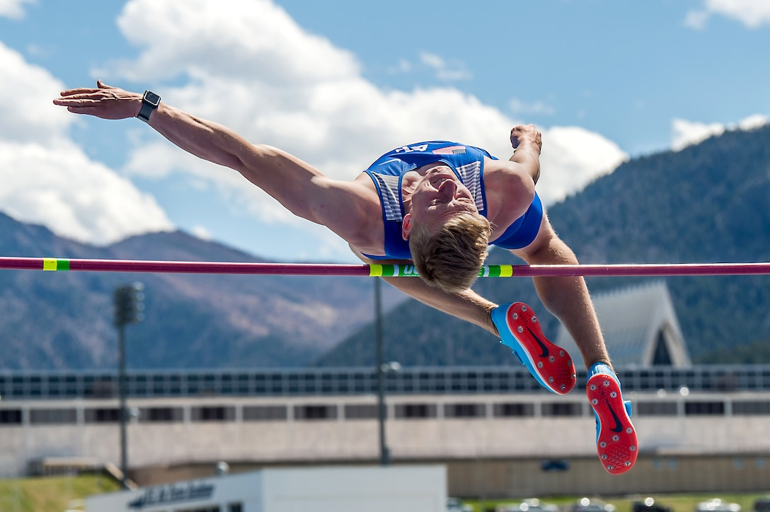 A cadet competes in a high-jump competition