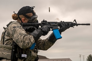 Security Forces Airmen participate in quarterly weapons training