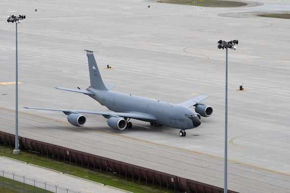A KC-135 Stratotanker, assigned to the 22nd Air Refueling Wing, nears the parking ramp May 6, 2019, on Grand Forks Air Force Base, North Dakota. Airmen with the 319th Operations Squadron, 319th Logistics Readiness Squadron and 69th Maintenance Squadron worked together in anticipation of the temporary housing of several KC-135's, due to inclement weather near McConnell AFB, Kansas. (U.S. Air Force photo by Senior Airman Elora J. Martinez)