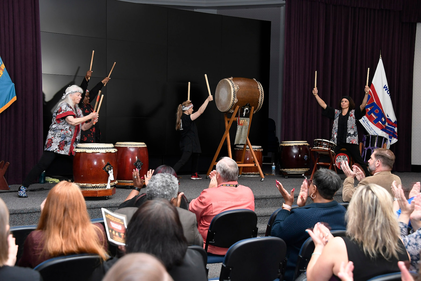 Taiko drummers educate their audience on their 2,000-year-old musical art form, which includes choreographed movements that mirror Japanese martial arts.