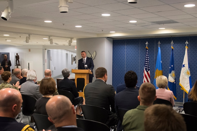 Bombing survivor and honoree, Muharren Alija, recounted his memories of surviving an accidental bombing by NATO fighters, during a ceremony commemorating the 20th anniversary of Operation Allied Force at the Pentagon, Arlington, Va., May 8, 2019. Operation Allied Force was initiated in 1999 by NATO in response to Serbian President Slobodan Milosevic's campaign of ethnic cleansing of Kosovar Albanians. (U.S. Air Force photo by Adrian Cadiz)