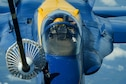 U.S. Marine Corp. Maj. Jeff Mullins, slot pilot of the U.S. Navy Flight Demonstration Squadron, the Blue Angels, receives centerline drogue air refueling from the 78th Air Refueling Squadron, 514th Air Mobility Wing, Joint Base McGuire-Dix-Lakehurst, N.J., May 8, 2019. The 78th ARS provided air refueling for the Blue Angels on their way to Joint Base Andrews, Md. for an air show. (U.S. Air Force photo by Senior Airman Ruben Rios)