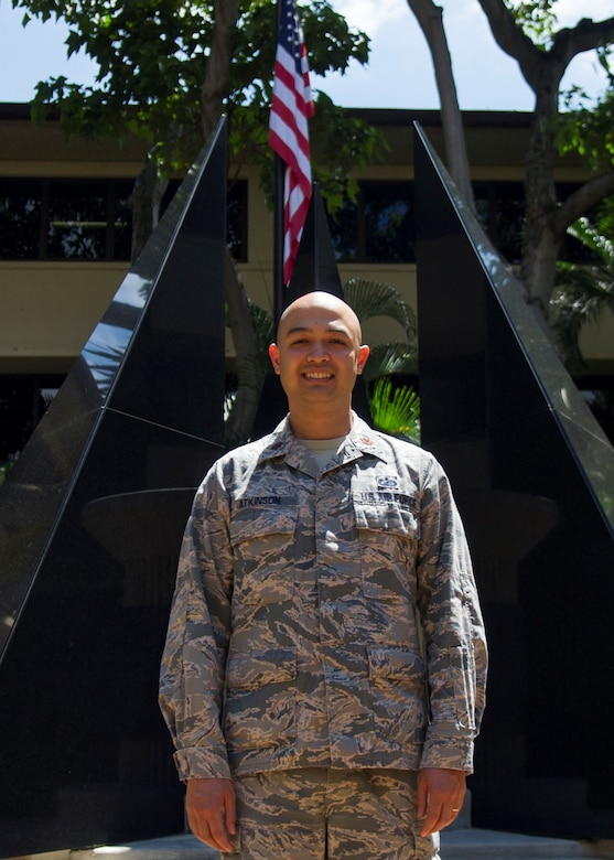 Maj. Andrew Atkinson, Pacific Air Forces Analyses, Assessments, and Lessons Learned branch chief, poses for a photo in the Courtyard of Heroes at Headquarters PACAF, Joint Base Pearl Harbor-Hickam, Hawaii, May 7, 2019. Atkinson was announced as the recipient of the 2019 Military Operations Research Society's Wayne P. Hughes Junior Analyst of the Year award at the Department of Defense level. (U.S. Air force photo by Staff Sgt. Mikaley Kline)
