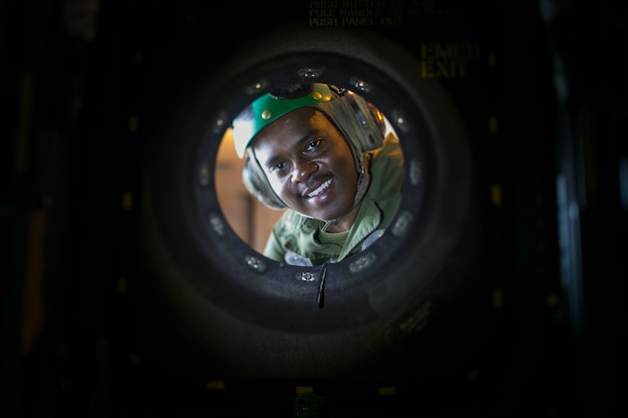 Lance Cpl. Celestin Wikenson, an airframer with Marine Medium Tiltrotor Squadron 262 (Reinforced), maintains the skin of a MV-22B Osprey helicopter Marine Corps Air Station Futenma, Okinawa, Japan, March 28, 2019.