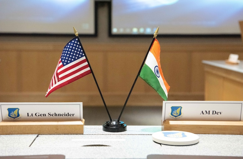 Flags from the Republic of India and United States sit side-by-side at the head table of the annual India Executive Steering Group at Joint Base Pearl Harbor-Hickam, Hawaii, May 1, 2019. This year marks the 22nd iteration of the steering group between the two nations and is the primary venue for determining future engagements between the two air forces. (U.S. Air Force photo by Staff Sgt. Daniel Robles)
