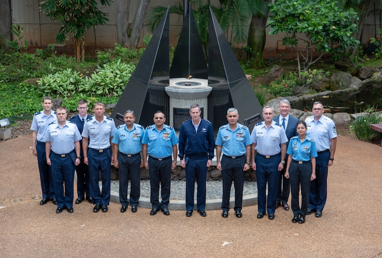 (Center Left) Air Marshal Amit Dev, Indian Air Force Director General Air (Operations).  and (Center Right) U.S. Air Force Lt. Gen. Kevin B. Schneider, 5th Air Force Commander, along with attendees of the India Executive Steering Group pose for a group photo in the Courtyard of Heroes at Joint Base Pearl Harbor-Hickam, Hawaii, May 2, 2019. This year marks the 22nd iteration of the steering group between the two nations and is the primary venue for determining future engagements between the two air forces. (U.S. Air Force Photo by Staff Sgt. Daniel Robles)