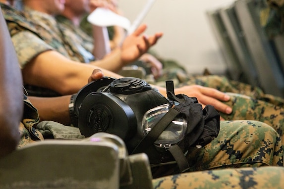 U.S. Marines assigned to Marine Aerial Refueler Transport Squadron (VMGR) 252 receive Chemical, Biological, Radiological and Nuclear (CBRN) defense training at Marine Corps Air Station Cherry Point, North Carolina, April 19, 2019.