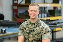U.S. Marine Sgt. Christopher Borghese poses for a photo at Marine Corps Air Station New River, North Carolina, April 30, 2019.
