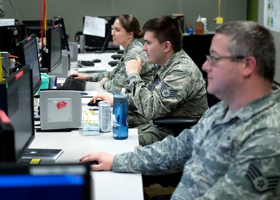 Air Force cyber operators participate in Exercise Black Demon 19-2 at Fort Sam Houston, Texas, May 9, 2019. The two-week-long exercise provided cyber mission forces and cybersecurity service partners an opportunity to demonstrate proficiency in defensive cyber tactics, techniques and procedures against an adversary. The exercise also marked the first time an installation-level mission defense team participated. (U.S. Army photo by Jesus Partida)