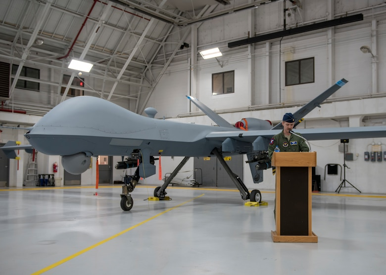 Maj. Casey Masters, speaks at the the 491st Attack Squadron's activation and assumption of command ceremony, May 8, 2019, on Hancock Field Air National Guard Base, N.Y. The 491st ATKS provides the Air Force additional capacity to produce MQ-9 aircrew (U.S. Air Force photo by Airman 1st Class Kindra Stewart)