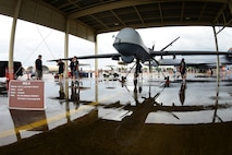 Creech Airmen showcase the MQ-9 Reaper at Langley Air Force Base, Va. for the 2018 Airpower over Hampton Roads air show, May 19-20, 2018. Remotely Piloted Aircraft maintainers, aircrew and support personnel bring the MQ-9 to airshows across the nation to allow the public to get a closer look at the Reaper and the Airmen who support it. (U.S. Air Force Photo by Airman 1st Class Haley Stevens)