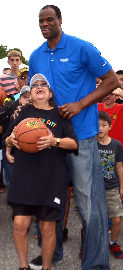 Former San Antonio Spurs legend David Robinson spoke to military spouses and children, signed autographs and shot some hoops during the Military Spouse Appreciation Day event at Joint Base San Antonio-Fort Sam Houston May 9.