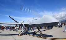 he MQ-9 Reaper is displayed at the 2018 Arctic Thunder Open House while the U.S. Air Force Thunderbirds perform June 30, 2018, at Joint Base Elmendorf-Richardson, Alaska. Over the weekend, approximately 300,000 visitors had the opportunity to see and learn about the Reaper, its mission and the Airmen who support it. (U.S. Air Force photo by Airman 1st Class Haley Stevens)