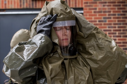 Capt. Malory Morris, a dentist assigned to the 628th Aerospace Medical Squadron, puts on her personal protective equipment during an exercise May 9, 2019, at Joint Base Charleston, S.C.