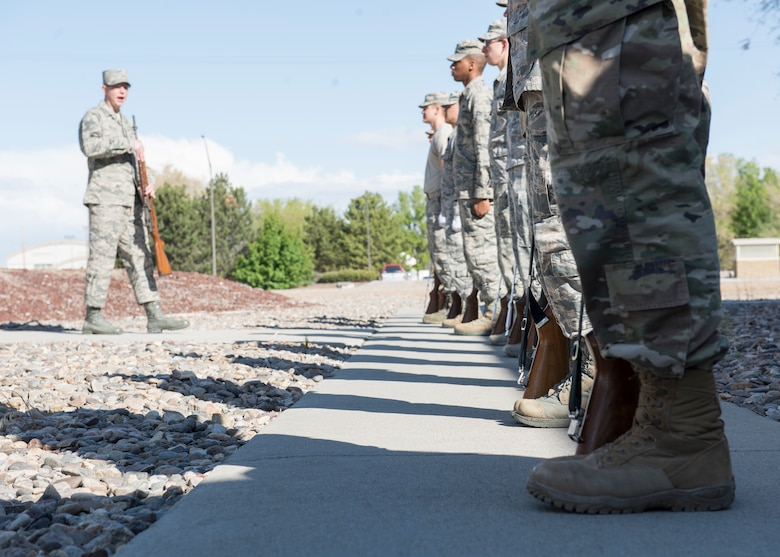 The Mountain Home Air Force Base honor guard conducts training April 5, 2019 at their ceremonial unit. The training is conducted daily to ensure that gaurdsmen remain efficient in the ceremonial movements. (U.S. Air Force photo by Senior Airman Tyrell Hall)