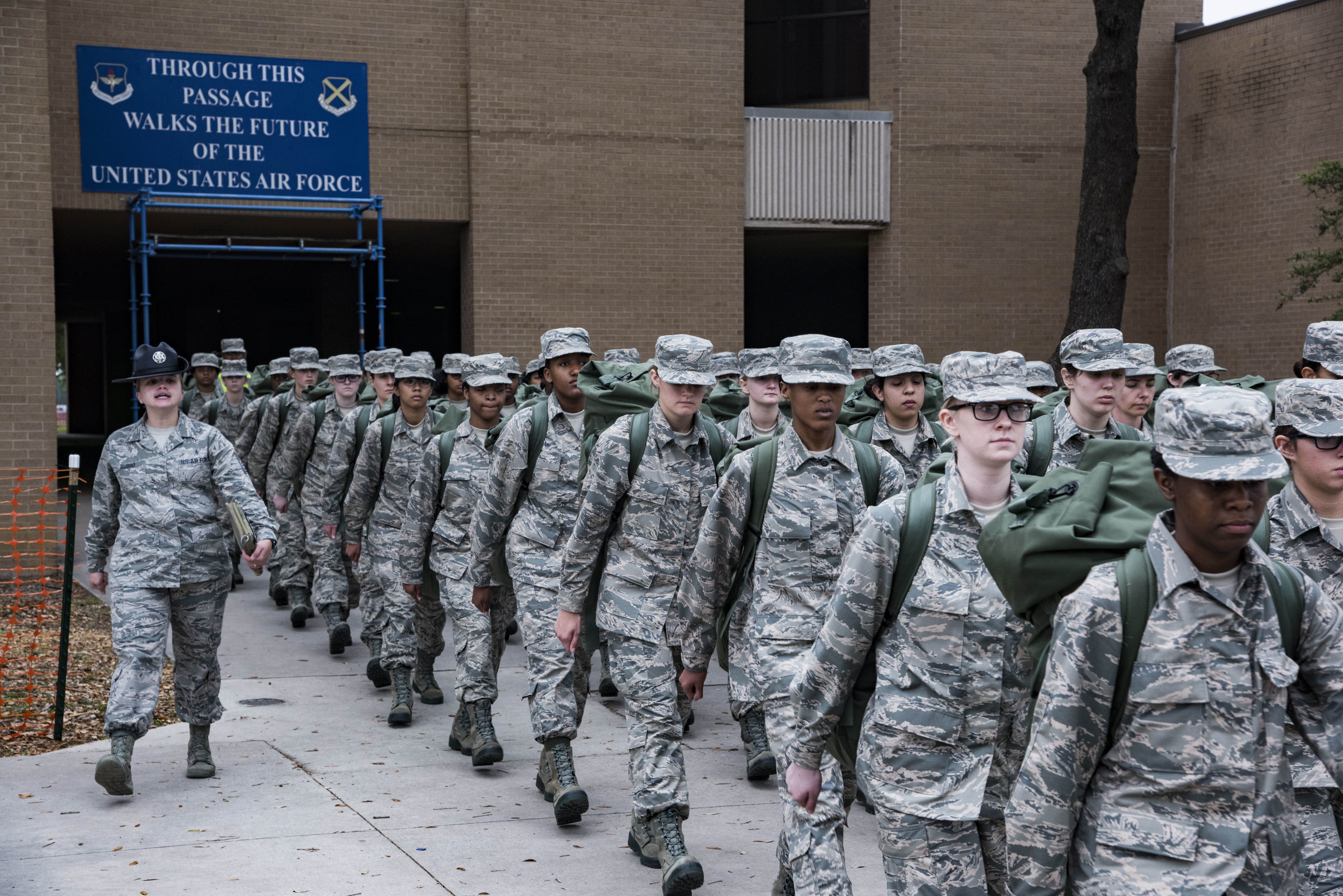 Initial clothing issue office dresses trainees as Airmen