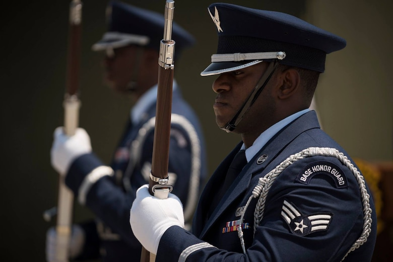 The Mountain Home Air Force Base honor guard conducts a ceremony April 5, 2019 at Mountain home Air Force Base. (U.S. Air Force photo by Airman First Class Janae Capuno)