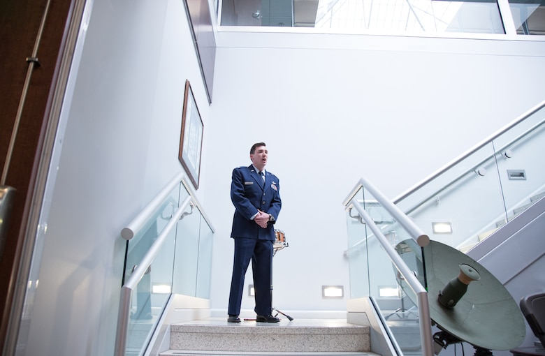 Capt. Theron Berry, 42nd Combat Training Squadron, sings the National Anthem for the 42 CTS Redesignation Ceremony May 5, 2019.