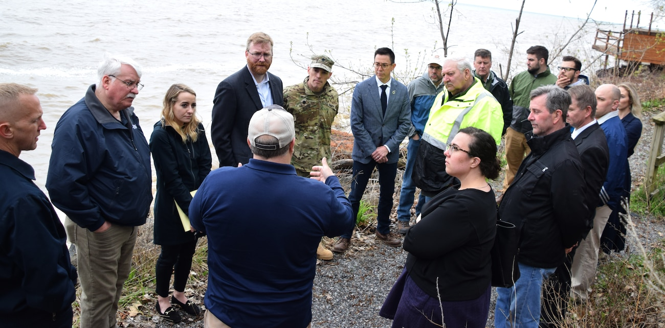 "The U.S. Army Corps of Engineers, Buffalo District team put ""boots on the ground"" today in the Town of Greece and the Village of Wilson, in coordination with our many partners, to better understand shoreline conditions and mitigation efforts underway in response to the rising Lake Ontario water levels, May 10, 2019."
